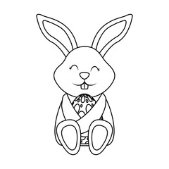 little cute rabbit hugs easter egg vector illustration