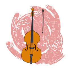 A cello. Stringed musical instrument. Jazz instruments, on an abstraction pink background. With additional particles, musical attributes. Vector illustration.