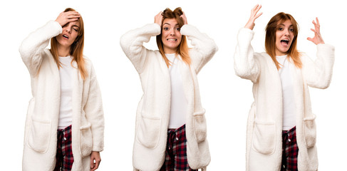 Set of Frustrated young woman in dressing gown
