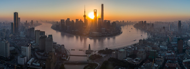 Aluminium Prints Asian Famous Place Panoramic Aerial View of Shanghai Skyline at Sunrise. Lujiazui Financial District. China.