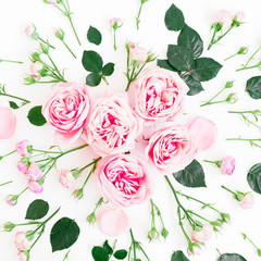 Floral pattern made of pink roses, buds and leaf on white background. Flat lay, Top view.