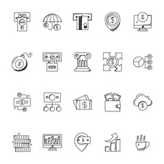 Business Doodle Icons Set