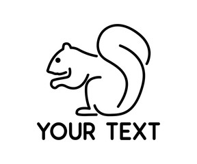 squirrel animal line logo design illustration