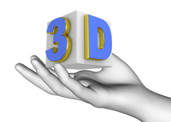 Hand and 3D icon