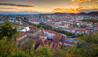 Aerial view of the city of Graz at sunset, Styria, Austria