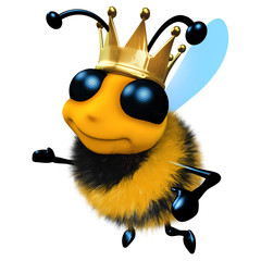 3d Funny cartoon honey bee character wearing a royal gold crown