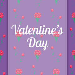 Valentines Day Congratulation Card with Flowers
