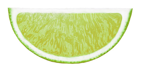 Perfectly retouched lime fruit slice isolated on the white background with clipping path. One of the best isolated limes slices that you have seen.