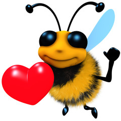 3d Funny cartoon honey bee character holding a romantic red heart