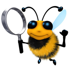 3d Funny cartoon honey bee character holding a magnifying glass