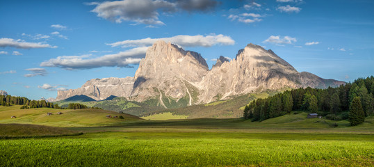 Alpine scenery in the Dolomites with Langkofel mountain summit at Alpe di Siusi at sunset, South Tyrol, Italy