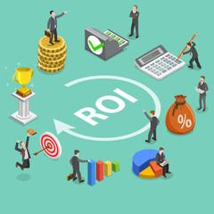 Flat isometric vector concept of return on investment, roi, digital marketing, marketing analysis, profit.