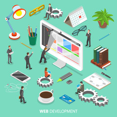 Web development flat isometric vector concept. People are taking off the web page that looks like paper sheet to see and change its programing code.