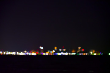 Colorful of bokeh at night time with dark background