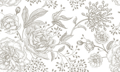 Floral vintage seamless pattern. Wall mural
