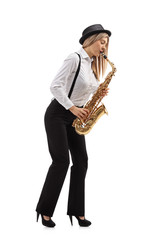 Female jazz musician playing a saxophone