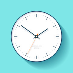Simple Clock icon in flat style, minimalistic timer on turquoise background. Business watch. Vector design element for you project