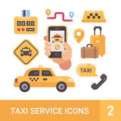 Set of taxi service flat icons. Car, luggage, taximeter, mobile app