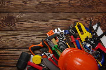 Tools on wood  background