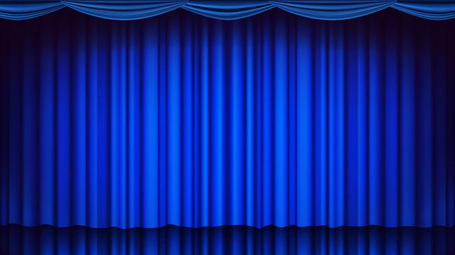 Blue Theater Curtain Vector. Theater, Opera Or Cinema Empty Silk Stage, Blue Scene. Realistic Illustration