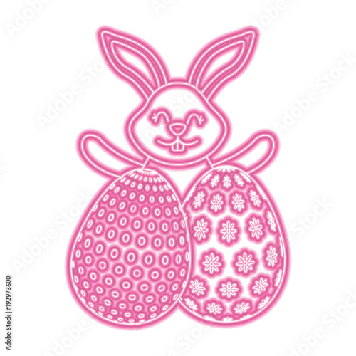 Happy Cute Rabbit With Two Easter Eggs Decoration Vector Illustration Pink Neon Image