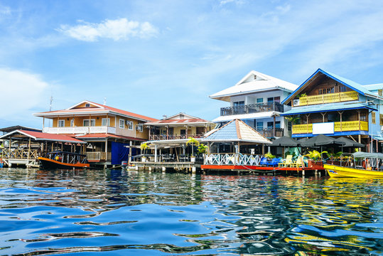 Houses of typical construction on the sea in Bocas del Toro