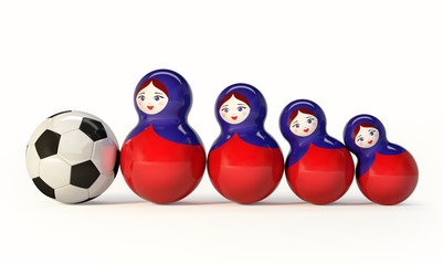 Russian Babushka dolls with football ball. 3d Rendering isolated on white background.