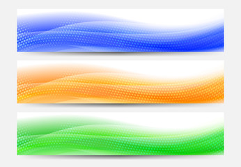 A modern set of vector Web Banner Header with Flowing Abstract Background