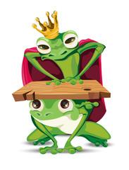 King frog Vector cartoon character. Bossy power metaphoric representations
