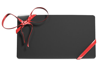 blank black gift voucher card with red ribbon. 3d illustration