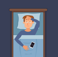 Sleepless man face cartoon character suffers from insomnia