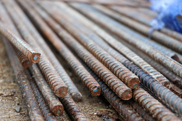 Steel rod iron rods construction material pettern background at site
