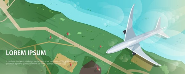 Horizontal banner with airplane flying above seashore or ocean coast, road and houses, aerial view. Flight of passenger airliner and place for text. Modern colorful vector illustration in flat style.