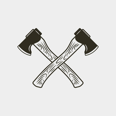 two crossed axes isolated on white background. vector illustration