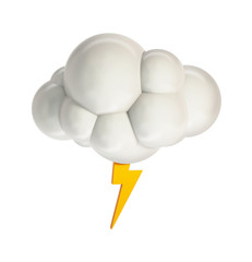 Cloud with Lightning. Weather Icon. 3d Rendering Isolated on White Background