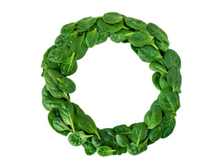 Weight loss diet challenge winner round wreath of spinach leaves top view