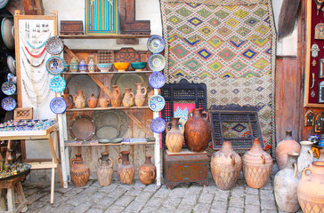 Traditional moroccan souvenirs on souk in Fes, Morocco, Africa