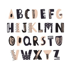 Funky latin font or decorative english alphabet hand drawn on white background. Creative textured letters arranged in alphabetical order. Modern typeface with dots and scribbles. Vector illustration.