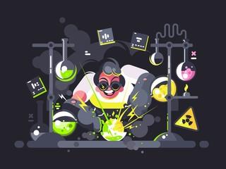 Scientist chemist making chemical experiment