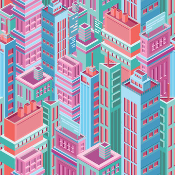 Seamless pattern with tall isometric city buildings, skyscrapers or towers of modern megalopolis