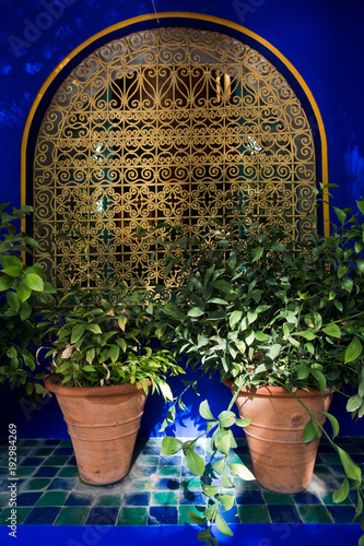 Architectural detail of a window with an oriental fence and a flower architectural detail of a window with an oriental fence and a flower pots at sunset in workwithnaturefo
