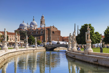 Padua, Prato della Valle, view from the canal to the Basilica of Santa Giustina, Italy