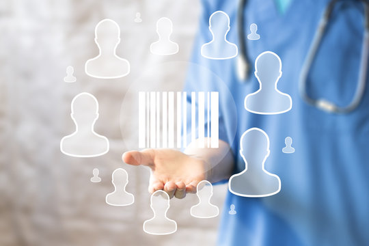Doctor pushing button barcode product healthcare network on virtual panel medicine