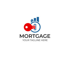 Key and real estate from graph logo template. Mortgage and chart from buildings vector design. Finance and property illustration