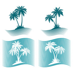 Pictograms, Exotic Landscape with Tropical Palms Trees Blue and White Silhouettes and Wave Lines. Icons, Logo or Labels. Vector