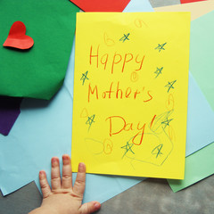 Happy Mothers day. baby card with colored paper