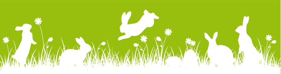 Easter Banner Meadow Green bunnies eggs