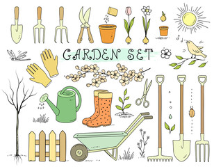 colorful spring garden tools set