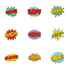Sticker icons set. Cartoon set of 9 sticker vector icons for web isolated on white background