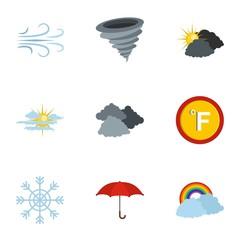 Hydrometeorological centre icons set. flat set of 9 hydrometeorological centre icons for web isolated on white background